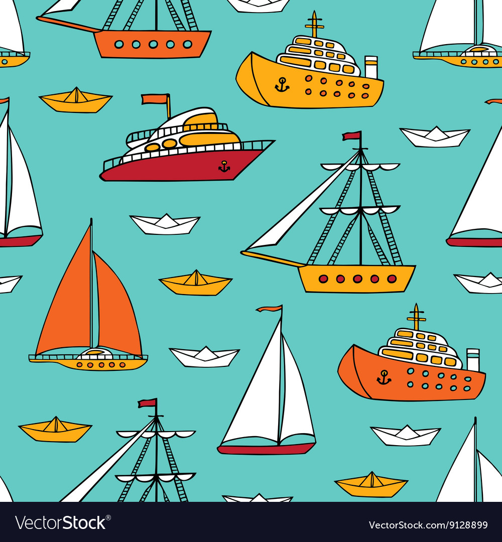 Seamless pattern with marine vessels