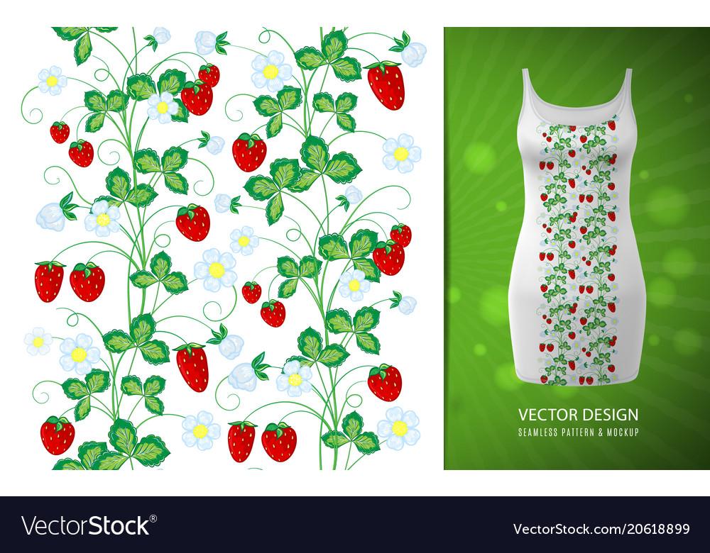 Strawberry vertical seamless borders
