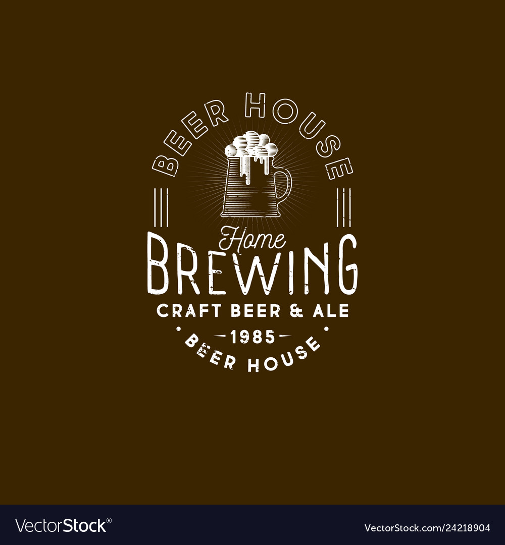 Brewing logo pub emblem mug of beer and foam