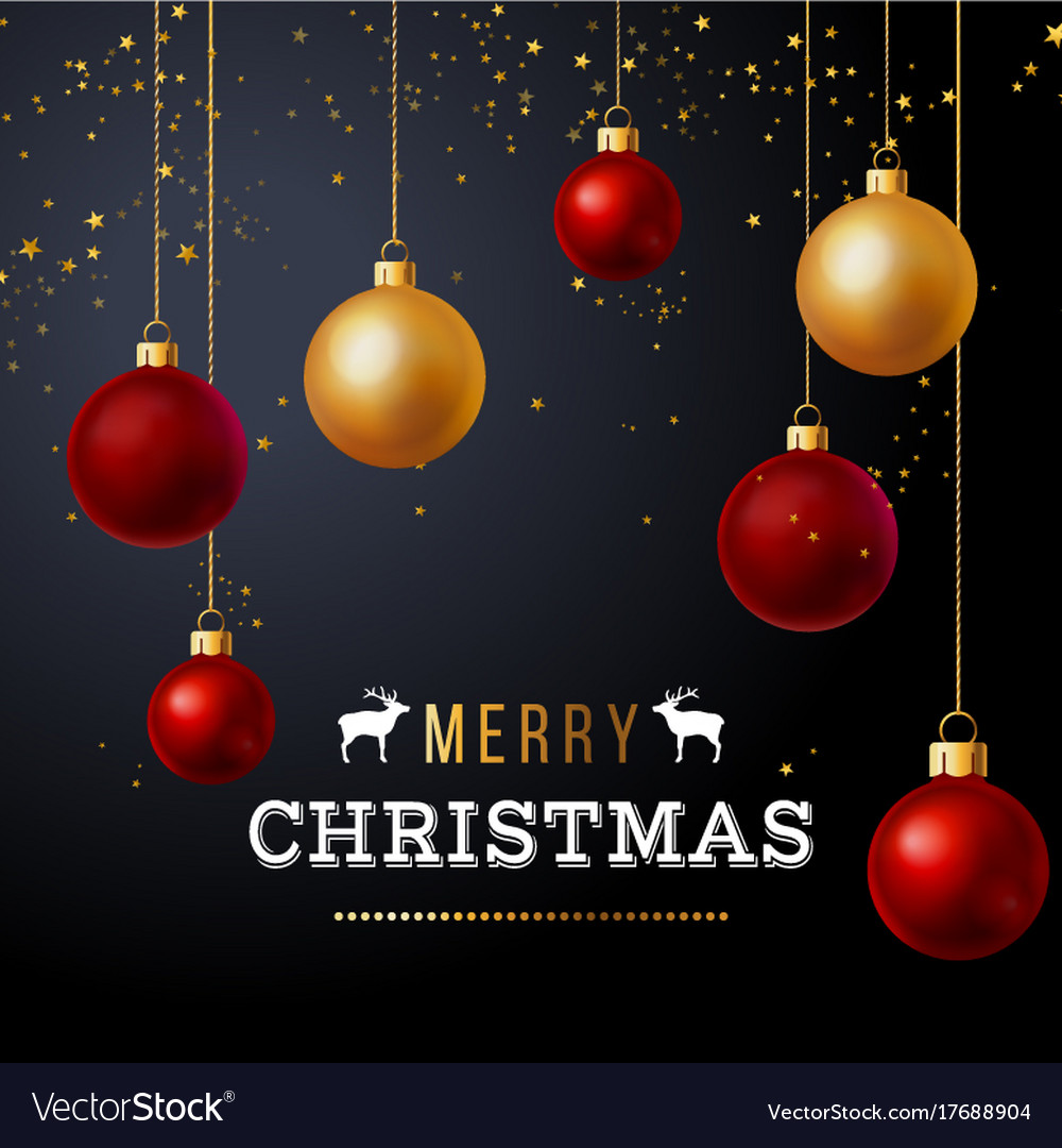 Christmas background with red and gold balls