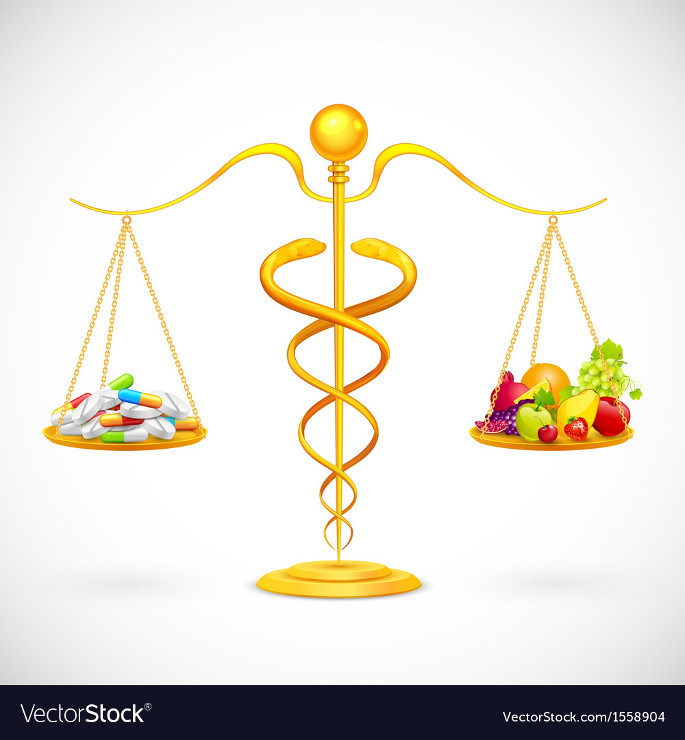 Coparing Fruit and Medical Capsule vector image