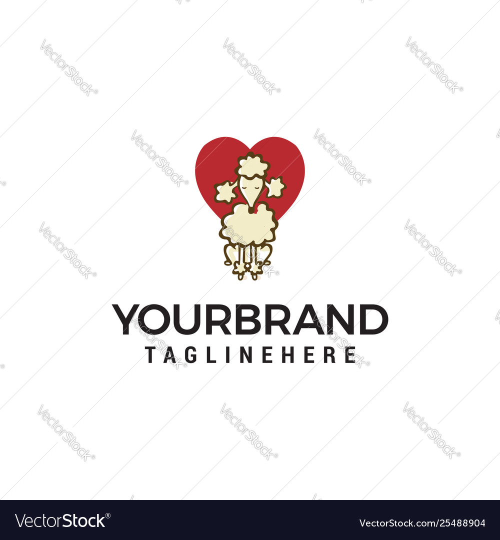 Dog heart logo design concept template
