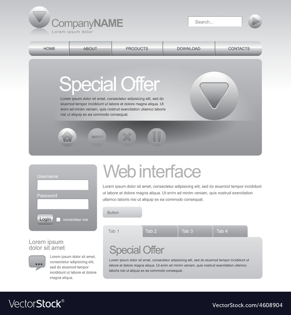 Gray Website Template 960 Grid vector image