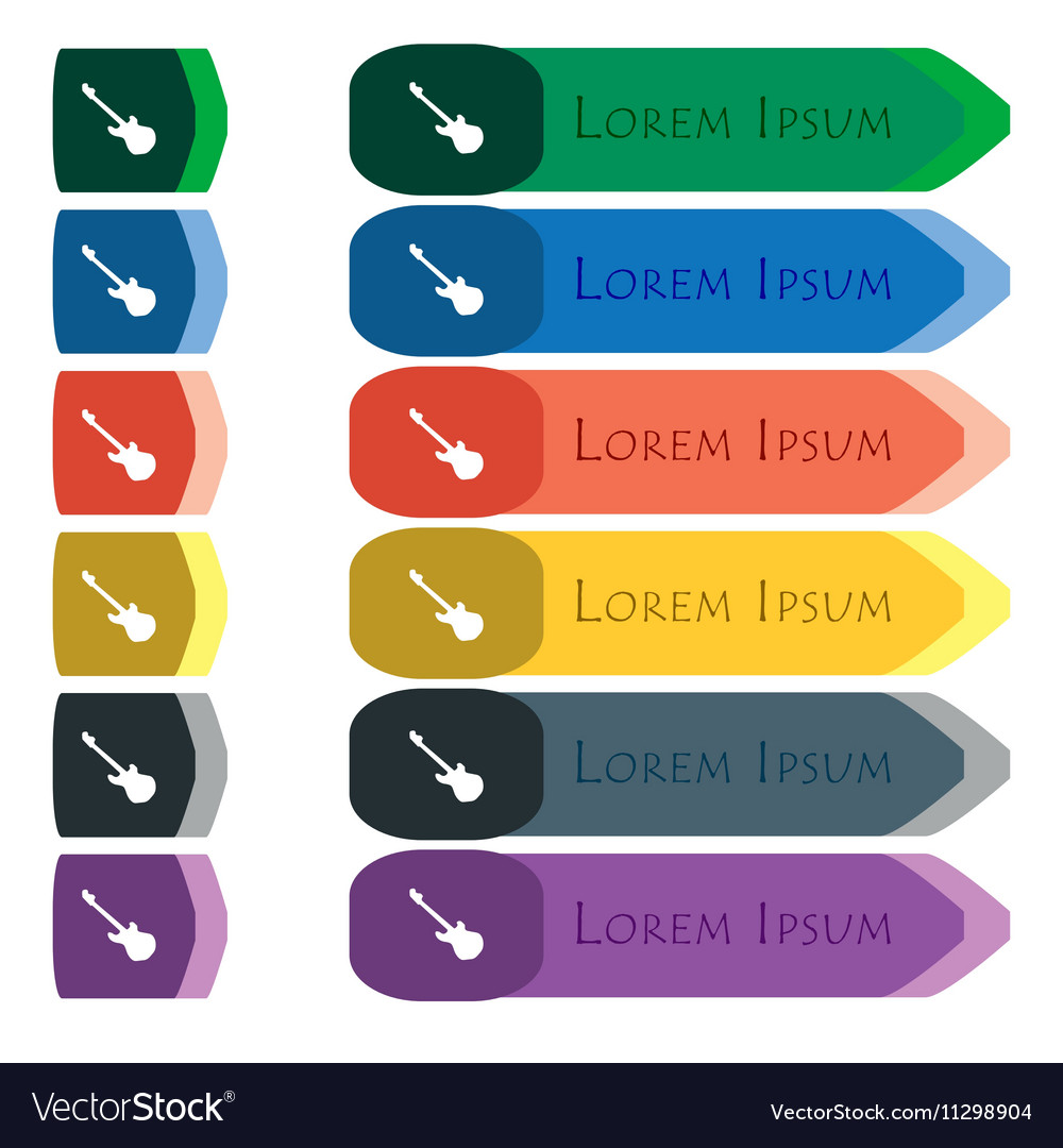 Guitar icon sign Set of colorful bright long