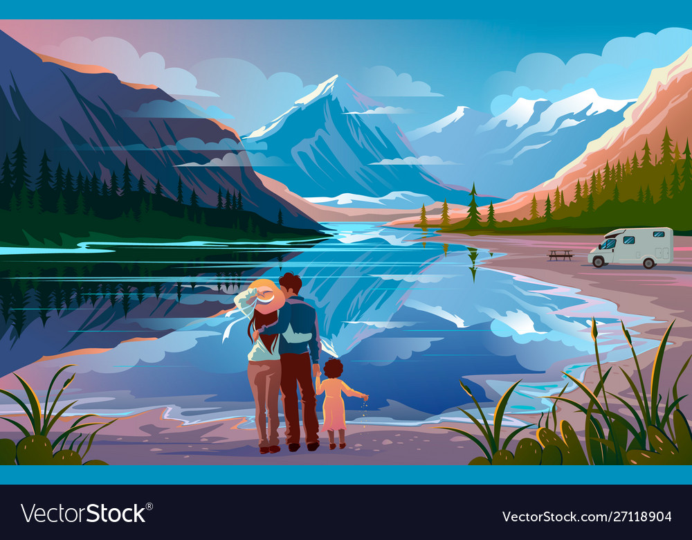 Happy family standing near lake looking away