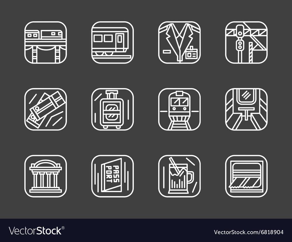Passenger transportation white line icons