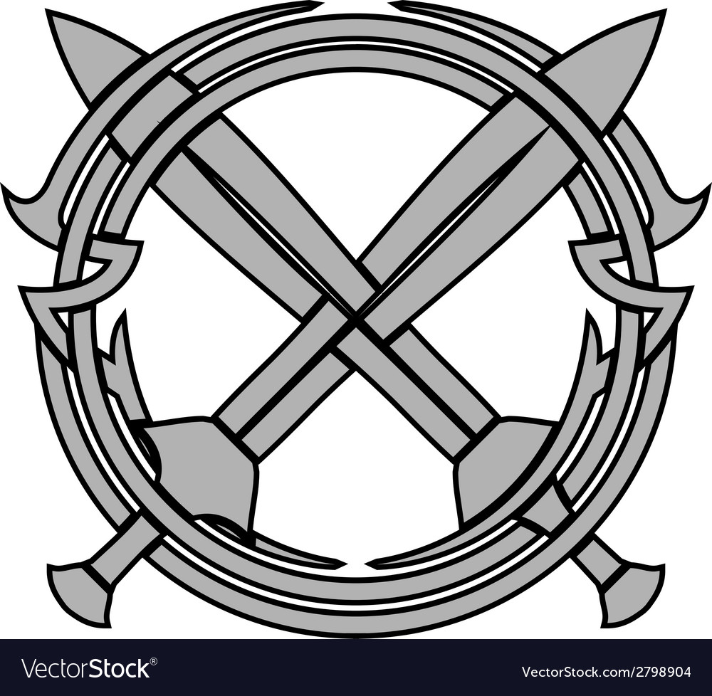 Pattern and crossed swords vector image