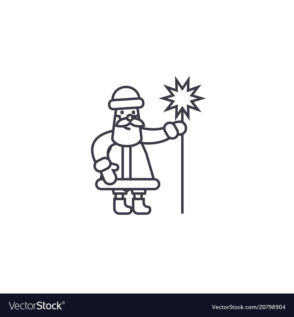 Santa claus with a wand line icon sign