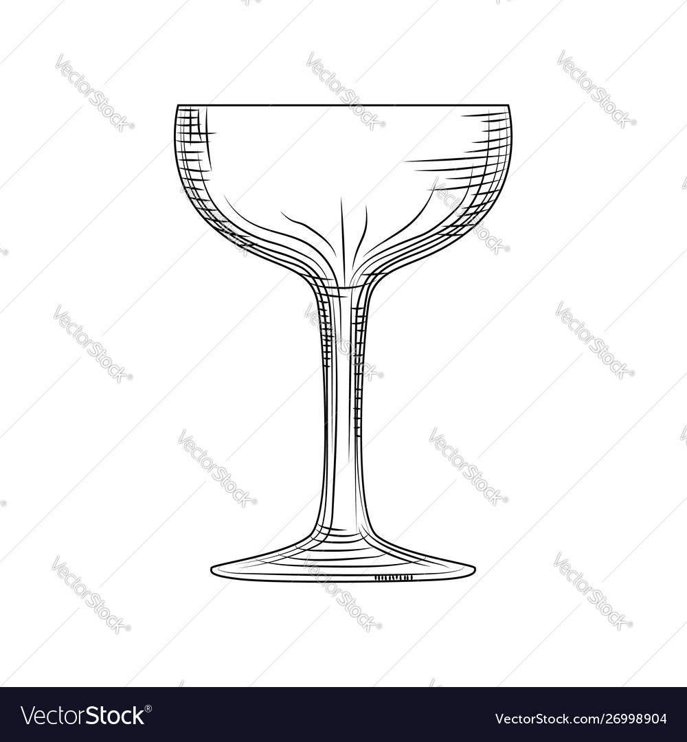 Saucer Glass Hand Drawn Champagne Glass Sketch Vector Image