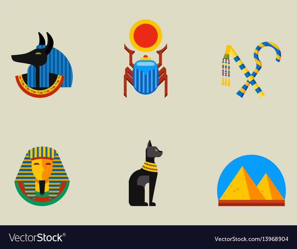 Set of flat design egypt travel icons