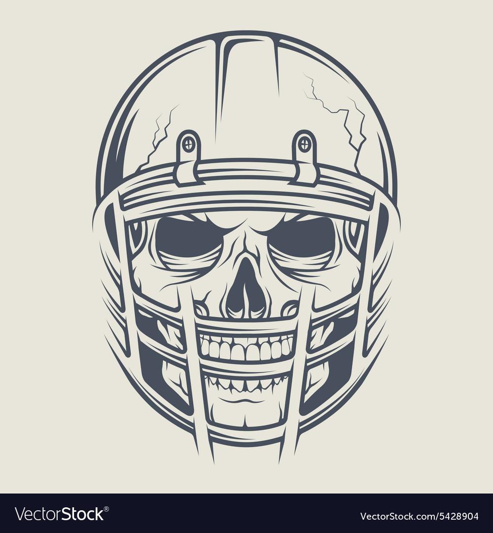 Skull in a helmet to play football