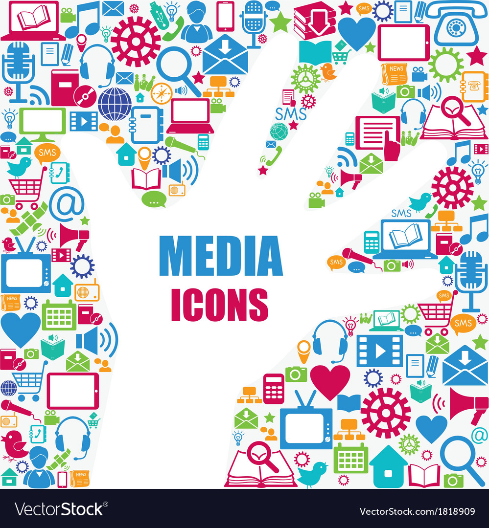 Background with media icons Modern and retro desi