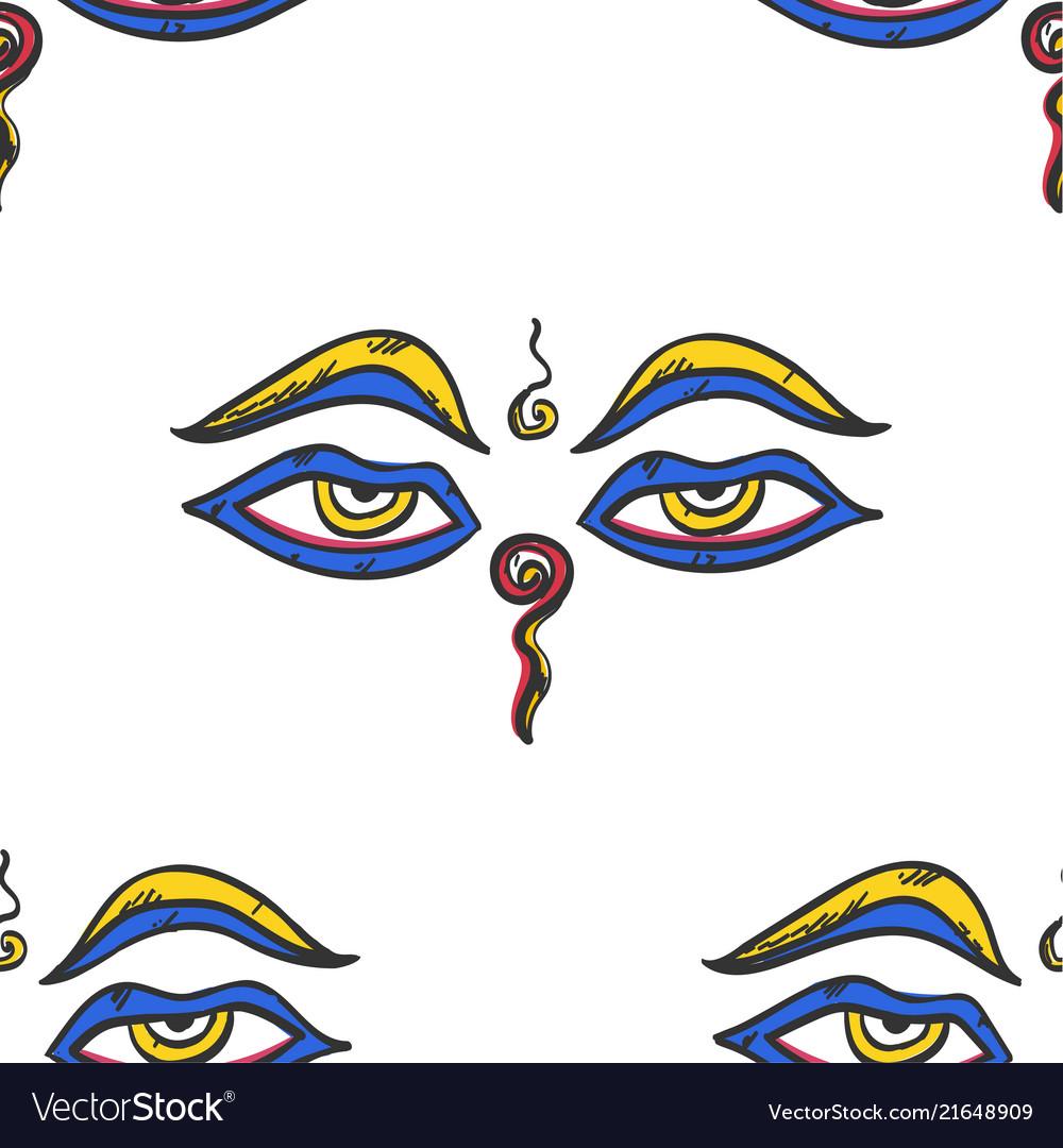 Buddha wisdom eyes seamless pattern tile buddhism