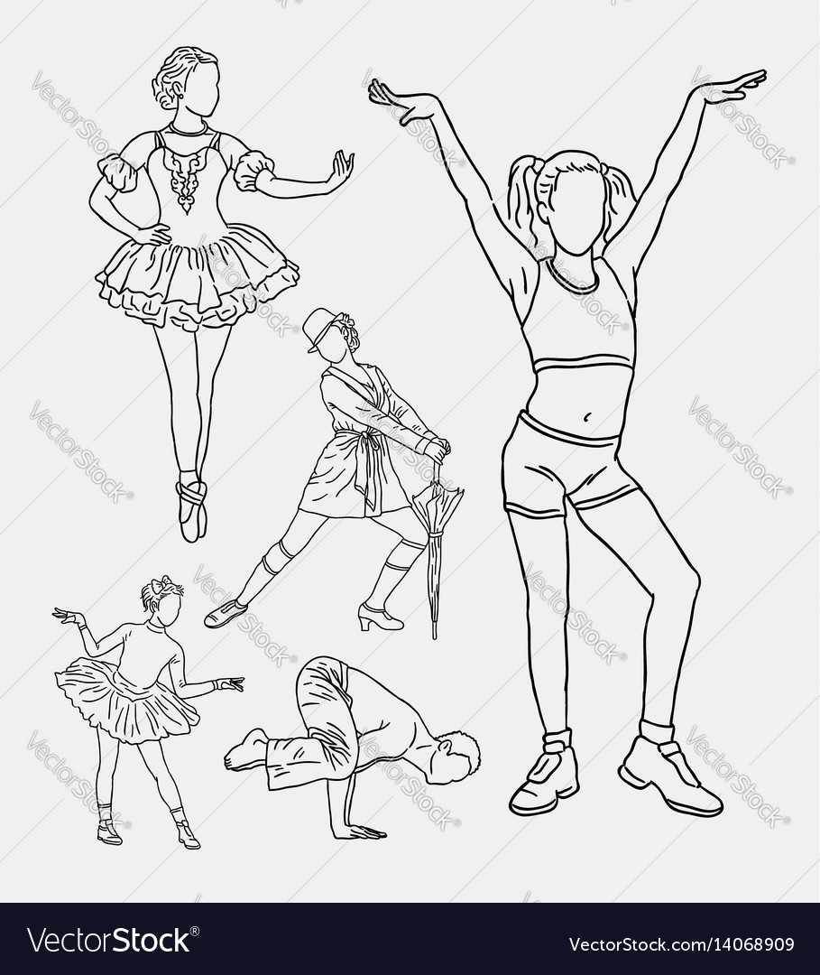 Dancer pose training hand drawing style vector image
