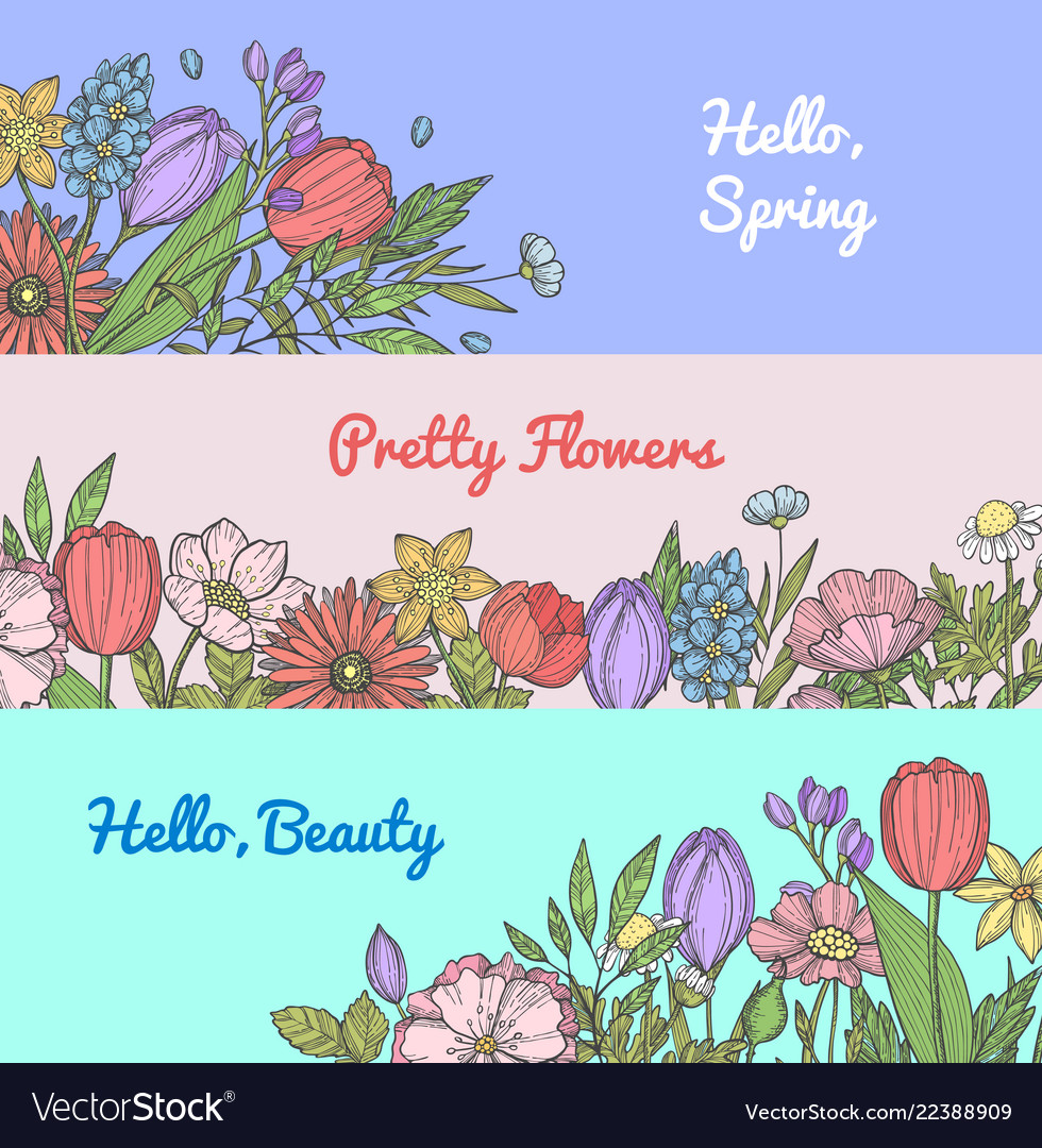 Hand drawn flowers web banner templates