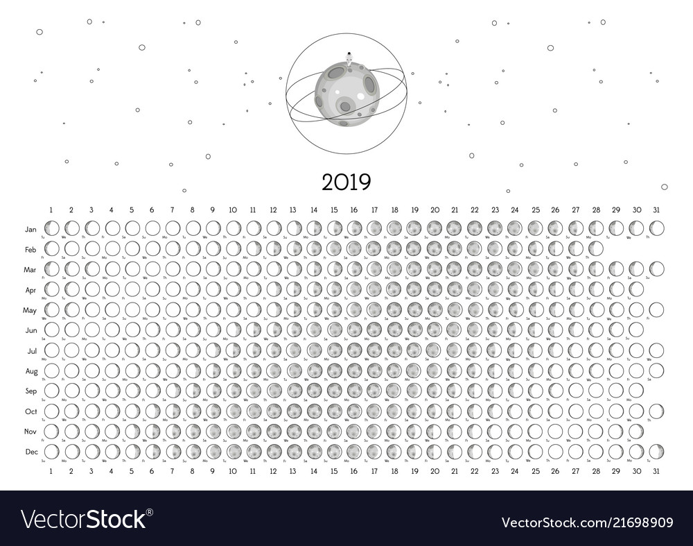 Free Lunar Calendar 2019 Moon, Phases & 2019 Vector Images (36)