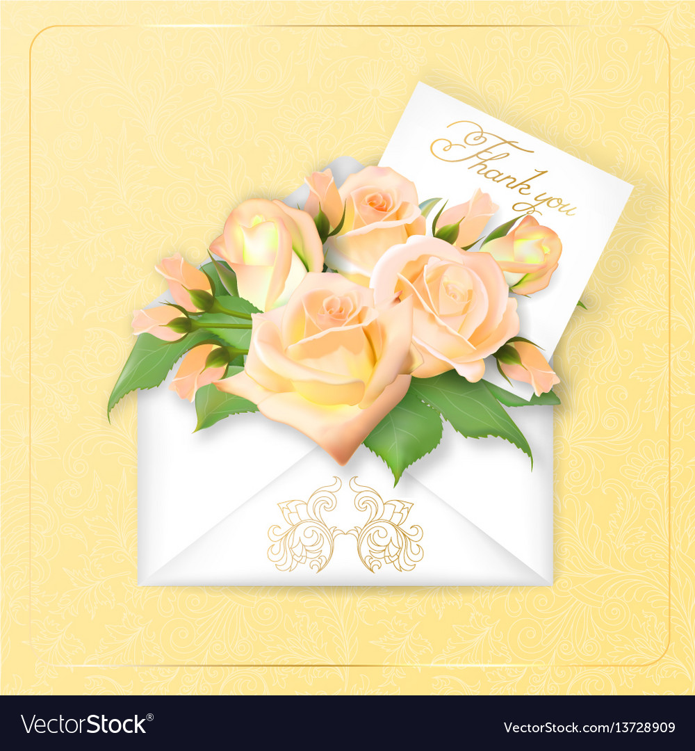 Roses with a note in an envelope template for