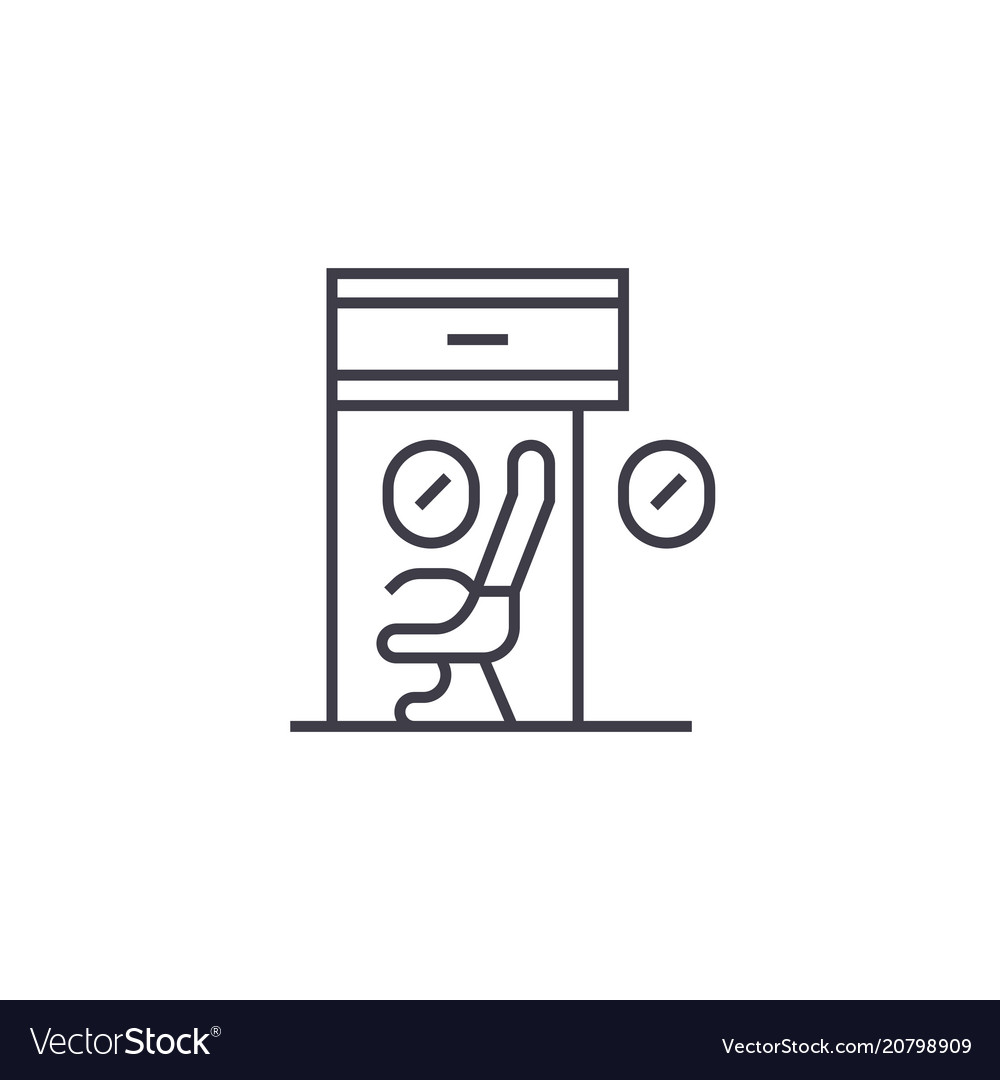 Scientific workplace line icon sig