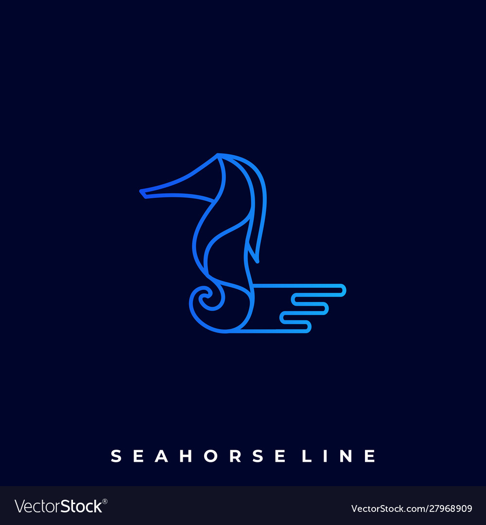 Sea Horse Line Art Design Template Royalty Free Vector Image