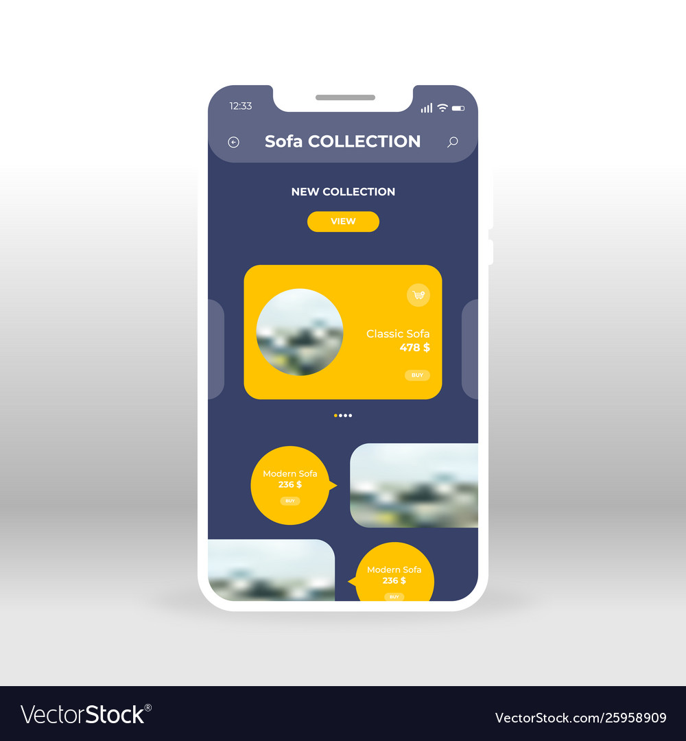 Yellow furniture collection store ui ux gui