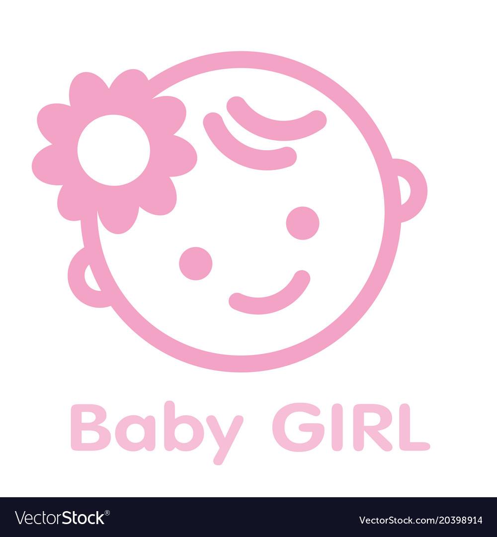 Baby girl face icon symbol isolated background
