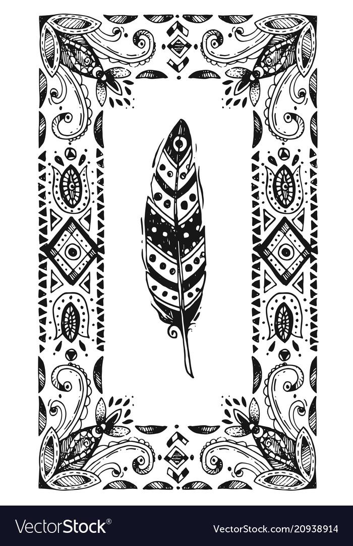 Boho style graphic elements beautiful hand drawn