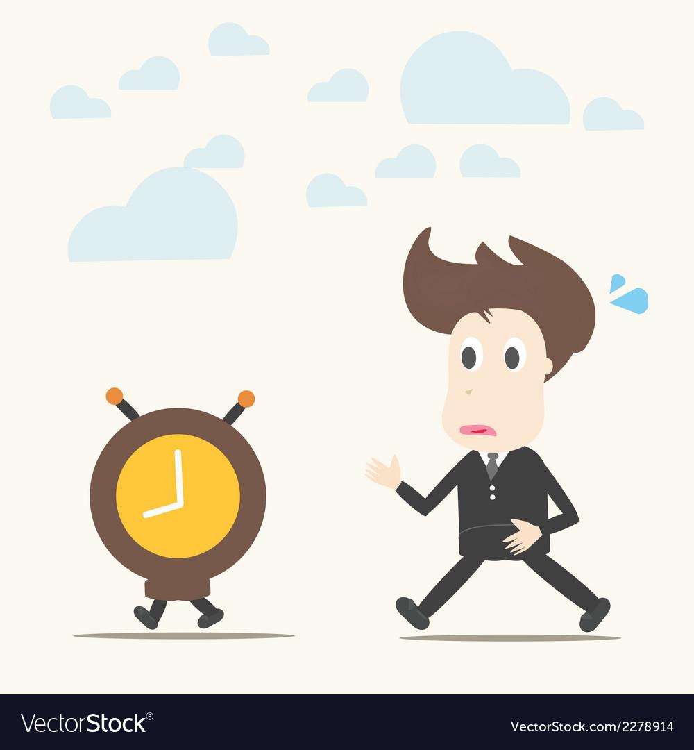 Business man follow the clock