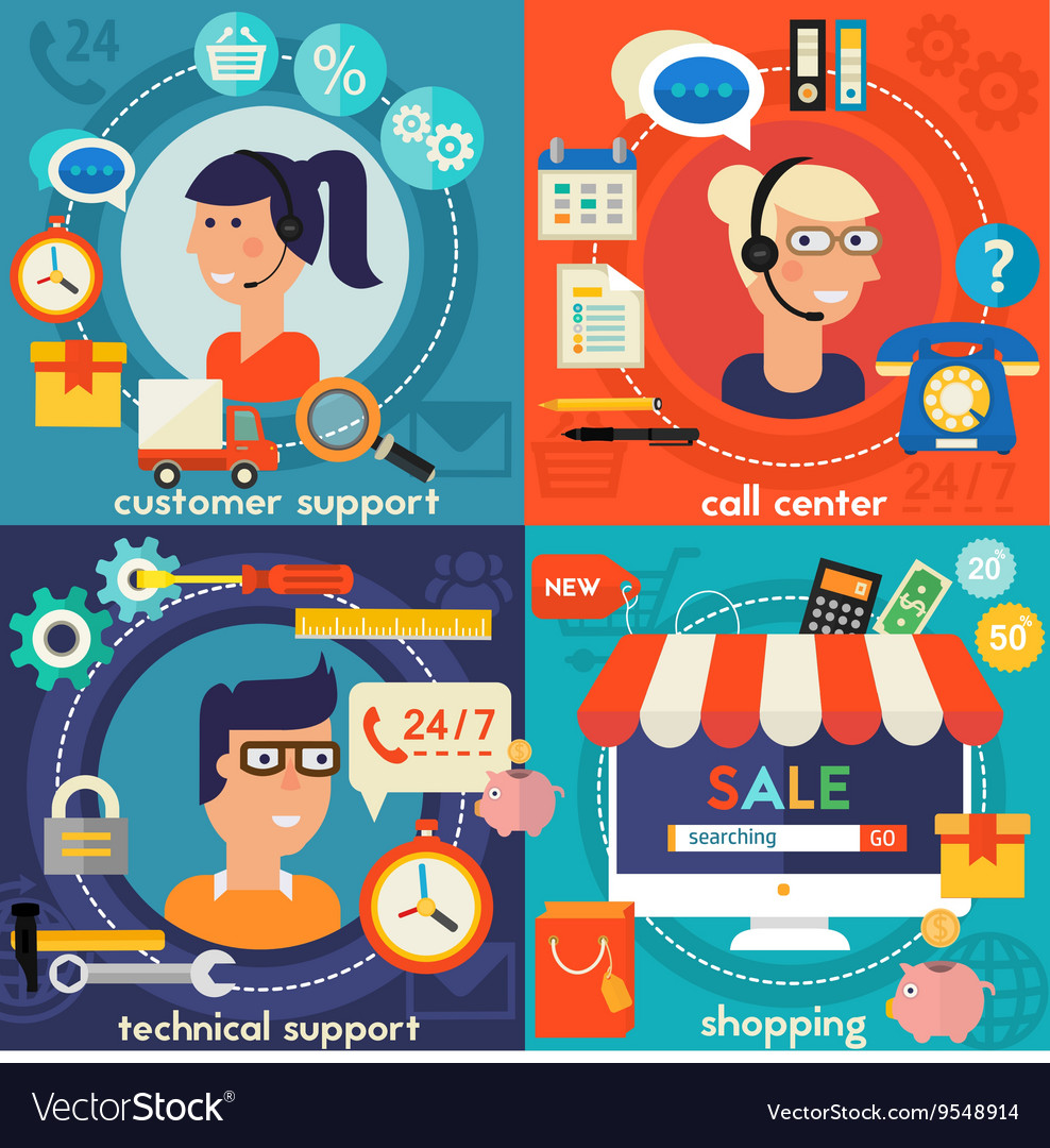 Customer and Technical Support Call Center Concept vector image