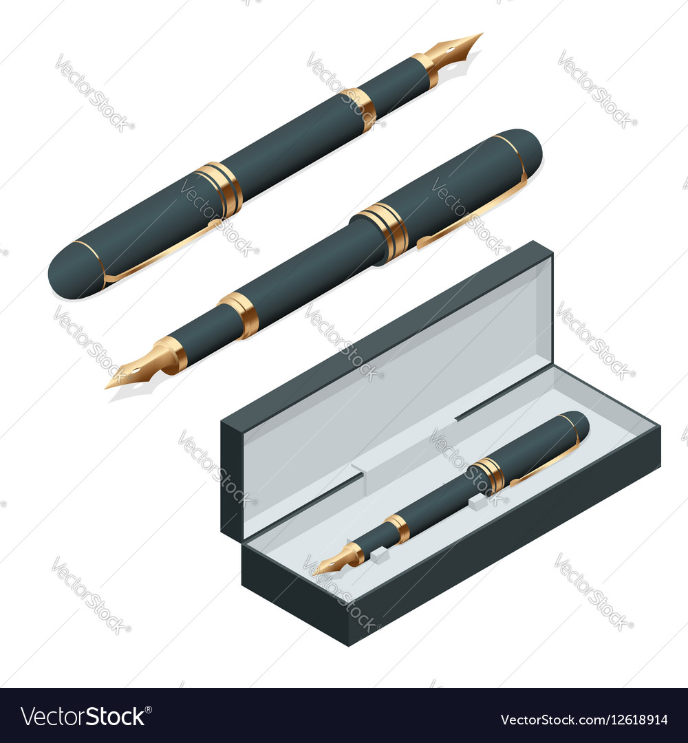 Elegant gold plated business fountain pen isolated
