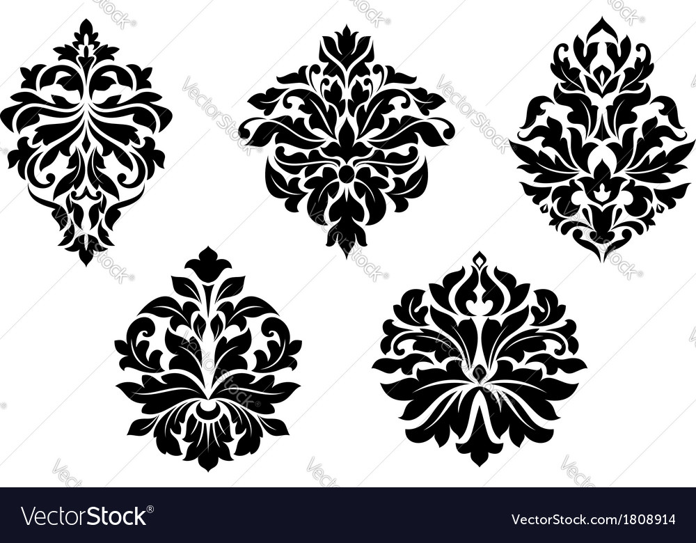 floral and foliate damask design elements vector image