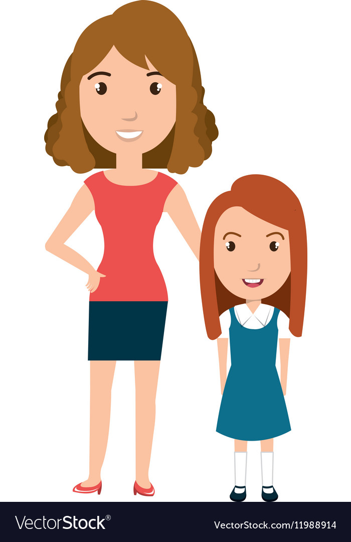 Girl student character with teacher isolated icon