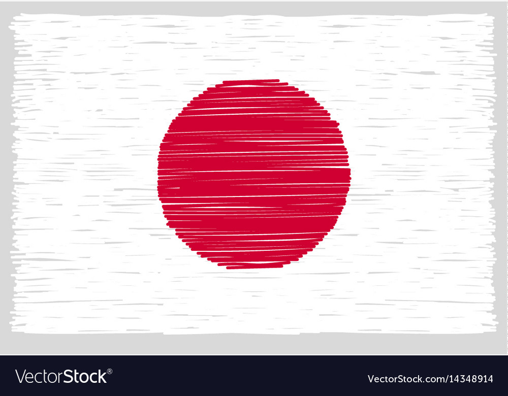 Hand drawn japanese flag vector image