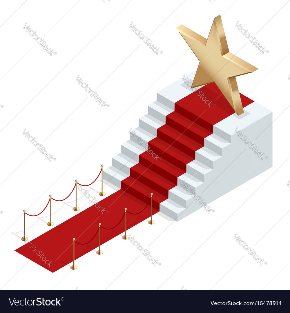 Isometric red event carpet isolated on a white