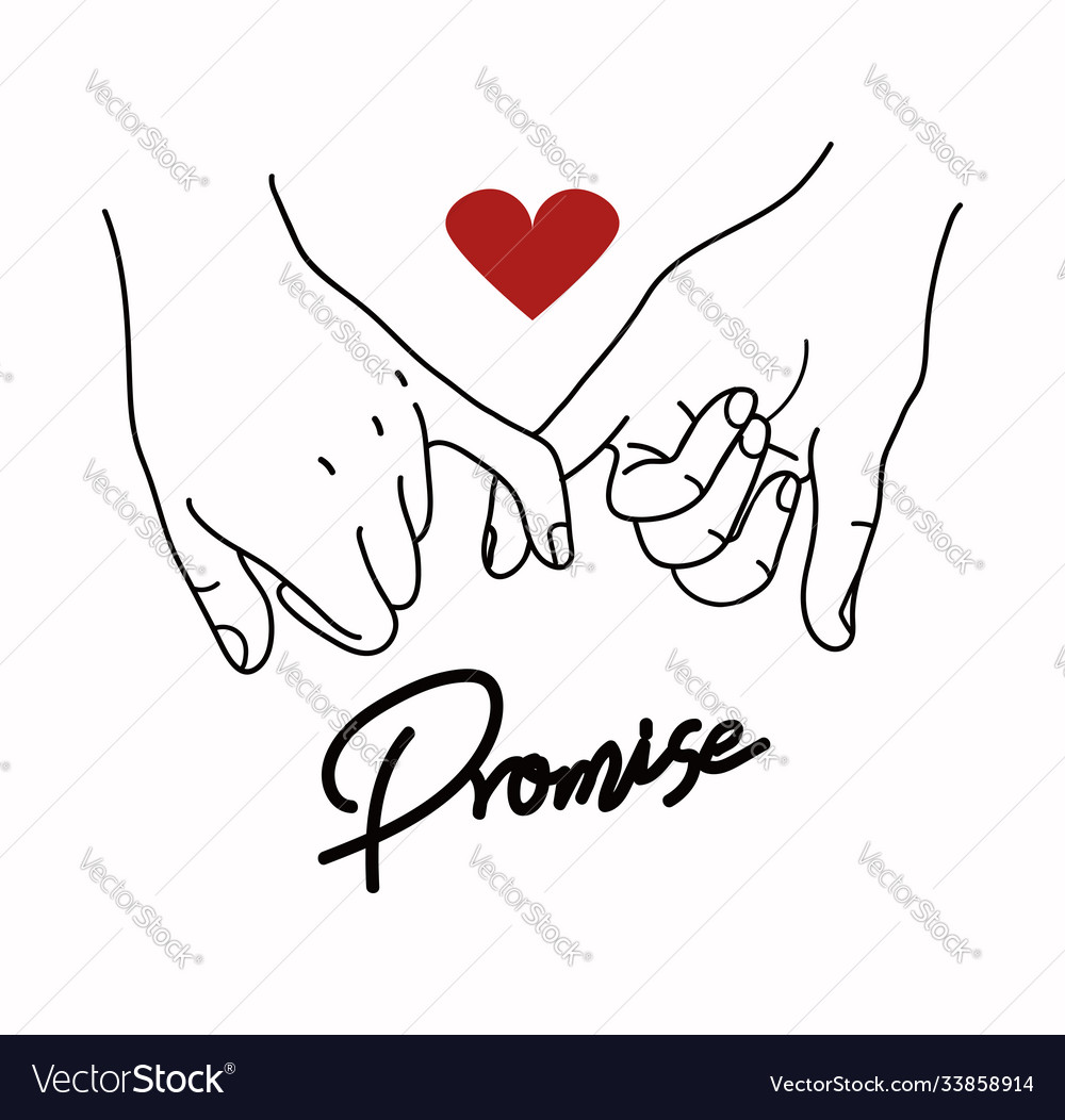 Pinky promise outline with red heart sign