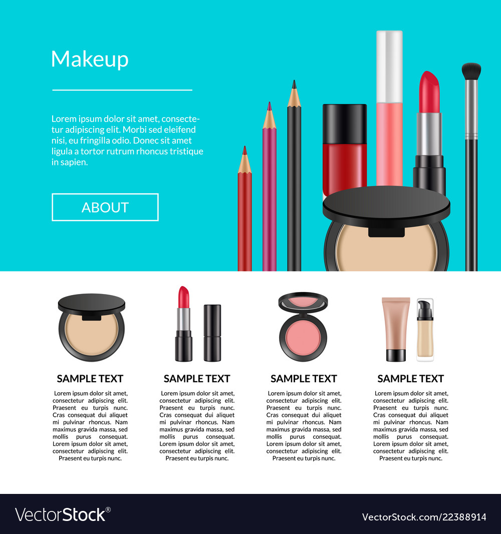 Realistic makeup elements website page