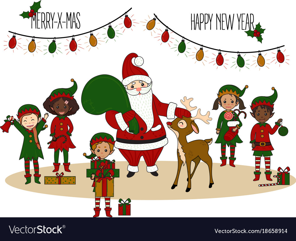 Santa claus with elves and deer christmas card