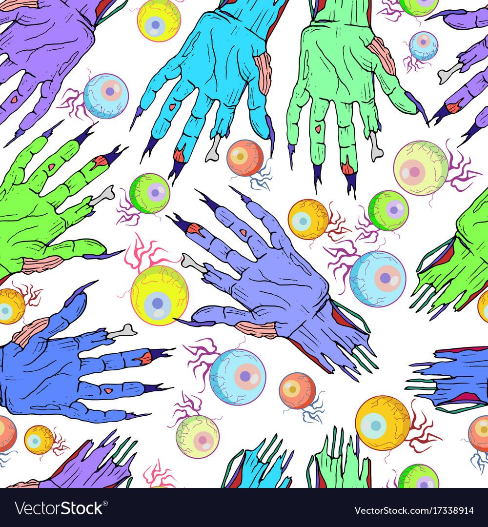 Seamless zombie hand eye pattern halloween vector image