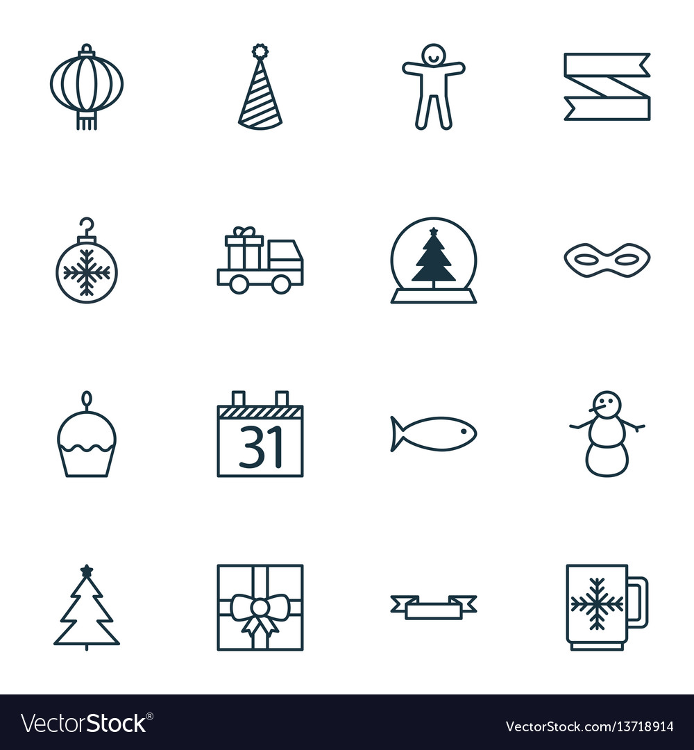 Set of 16 holiday icons includes tree toy gift