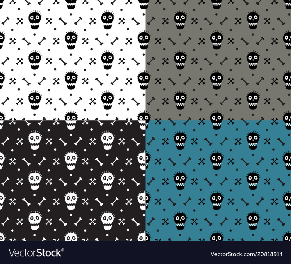 Skull and bones deadly fun simple seamless pattern