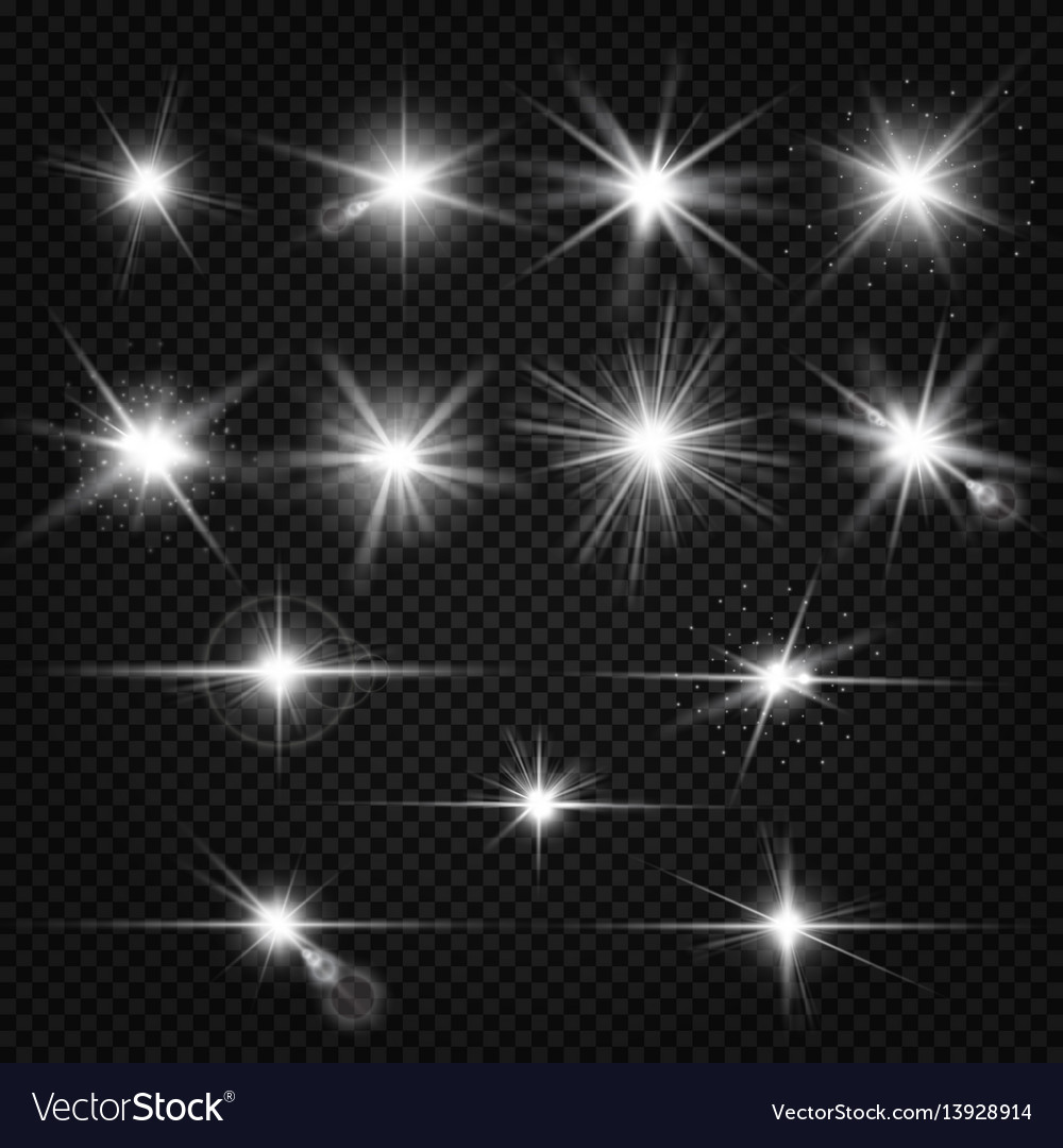 Twinkle lens flares glare lighting effects vector image