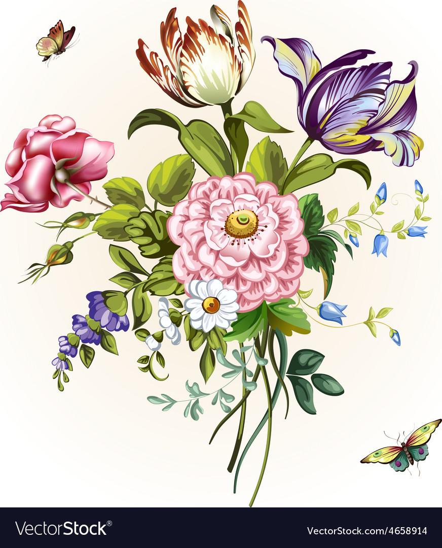 Vintage postcard with beautiful flowers ill vector image izmirmasajfo