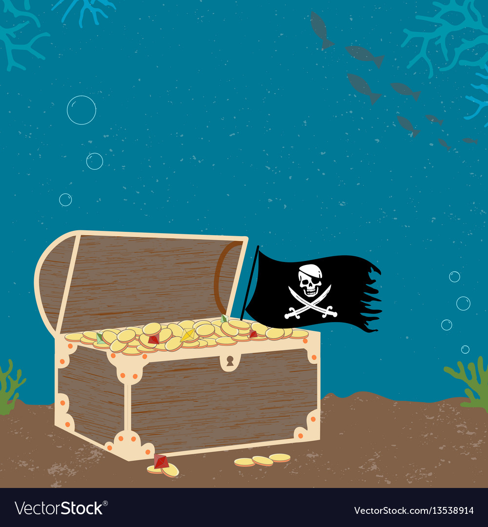 Vitage poster with treasure cheast and pirate flag vector image