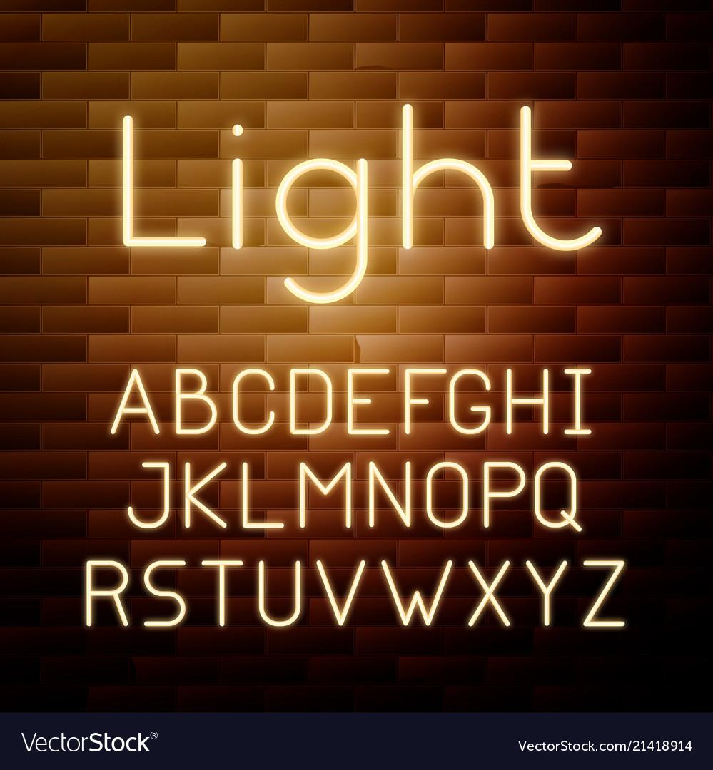 Yellow glowing neon alphabet