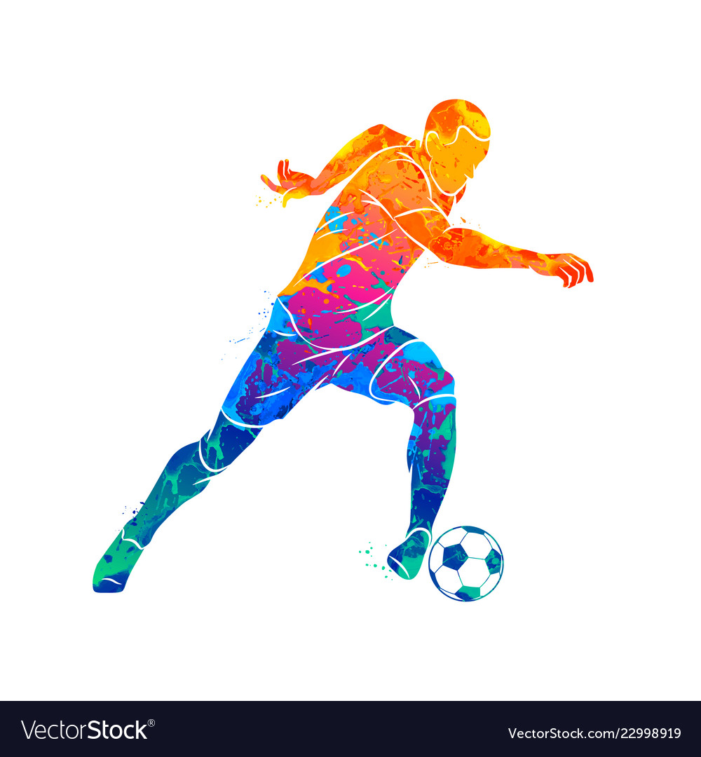 Abstract soccer player running with the ball from