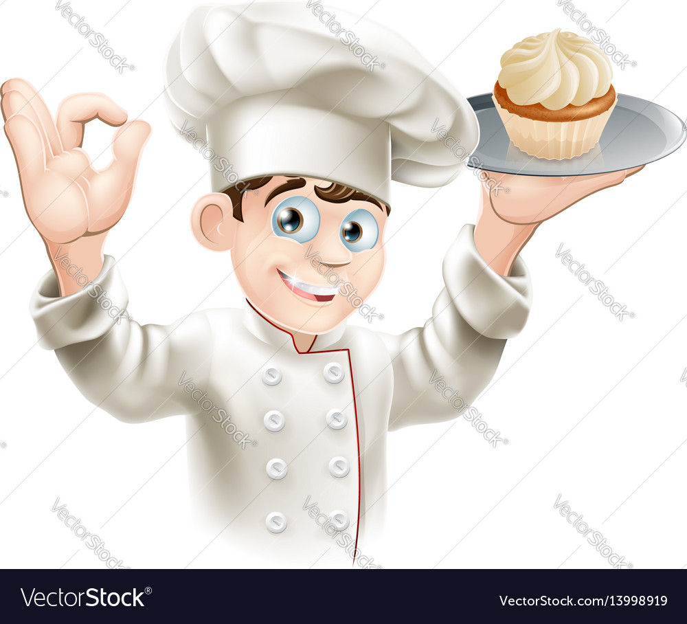 Baker with cupcake vector image