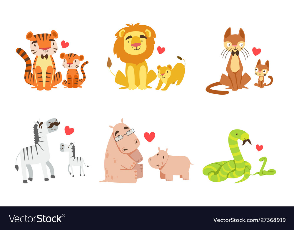 Cartoon Animals Couple Dad And Baby Royalty Free Vector