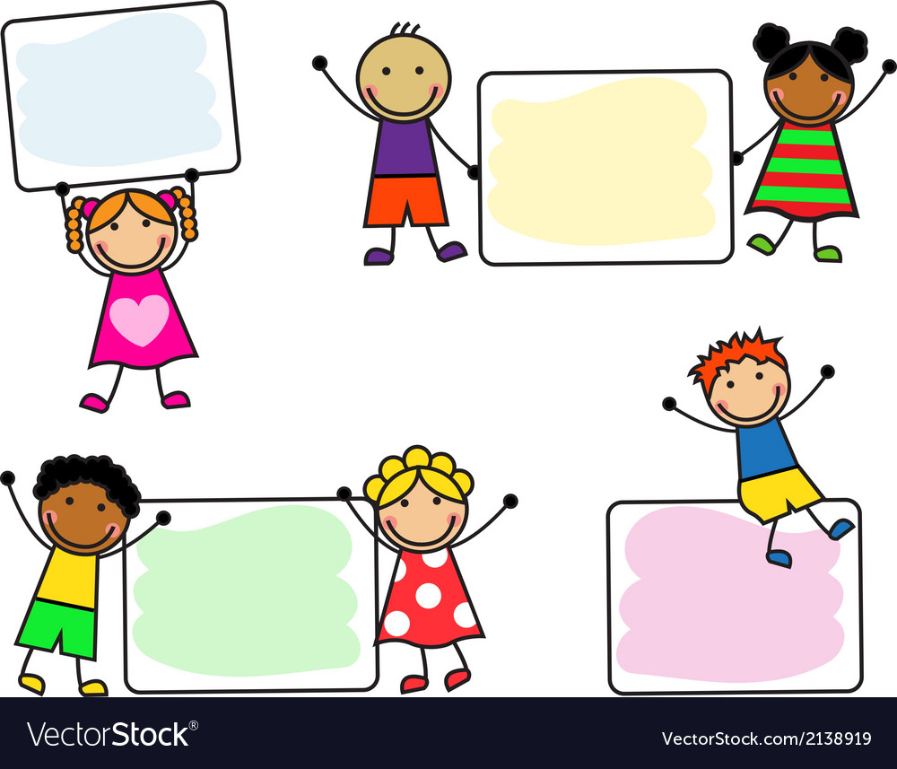 Cartoon kids with posters vector image