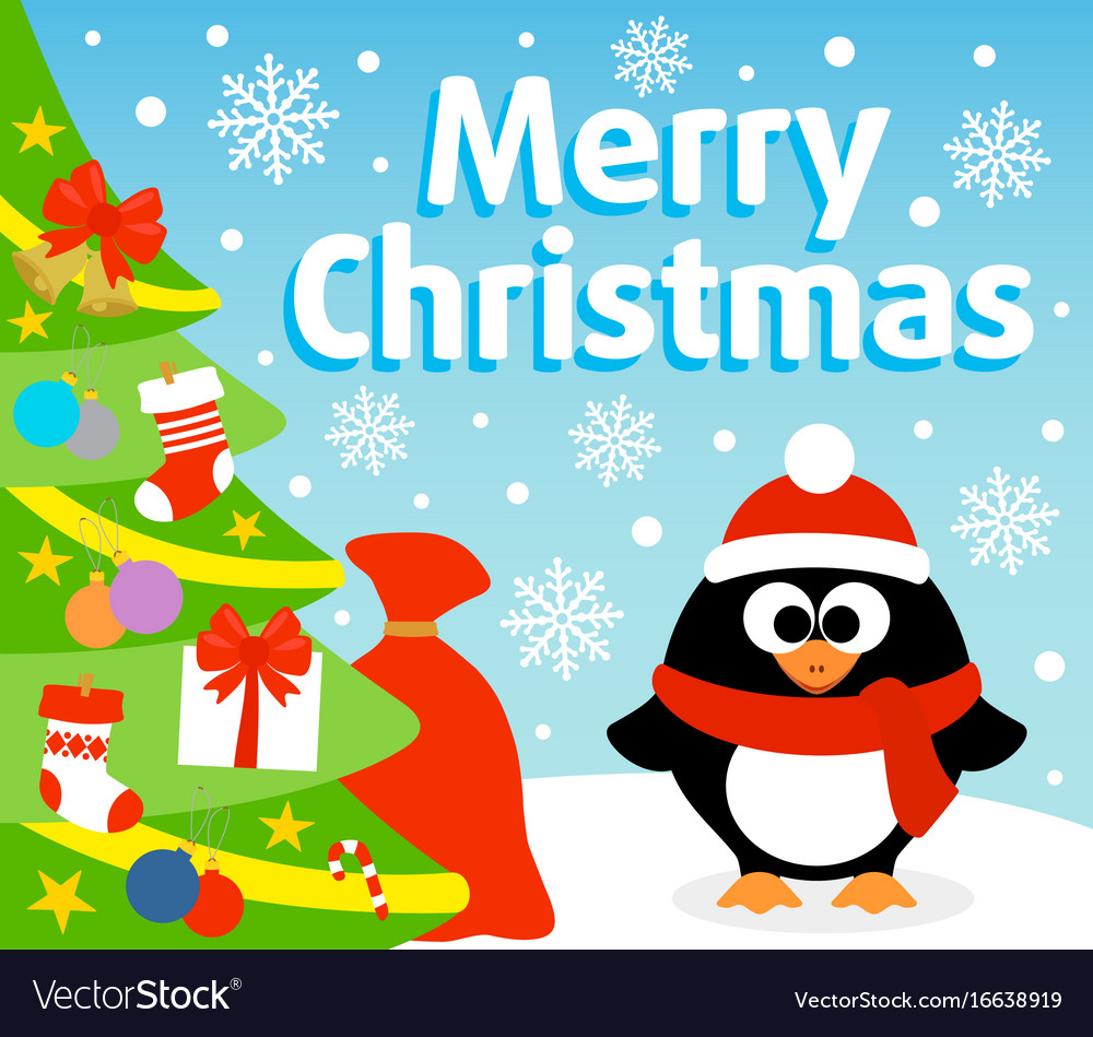 Christmas background card with penguin