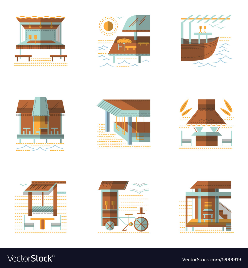 Flat colored icons for cafe and bungalows