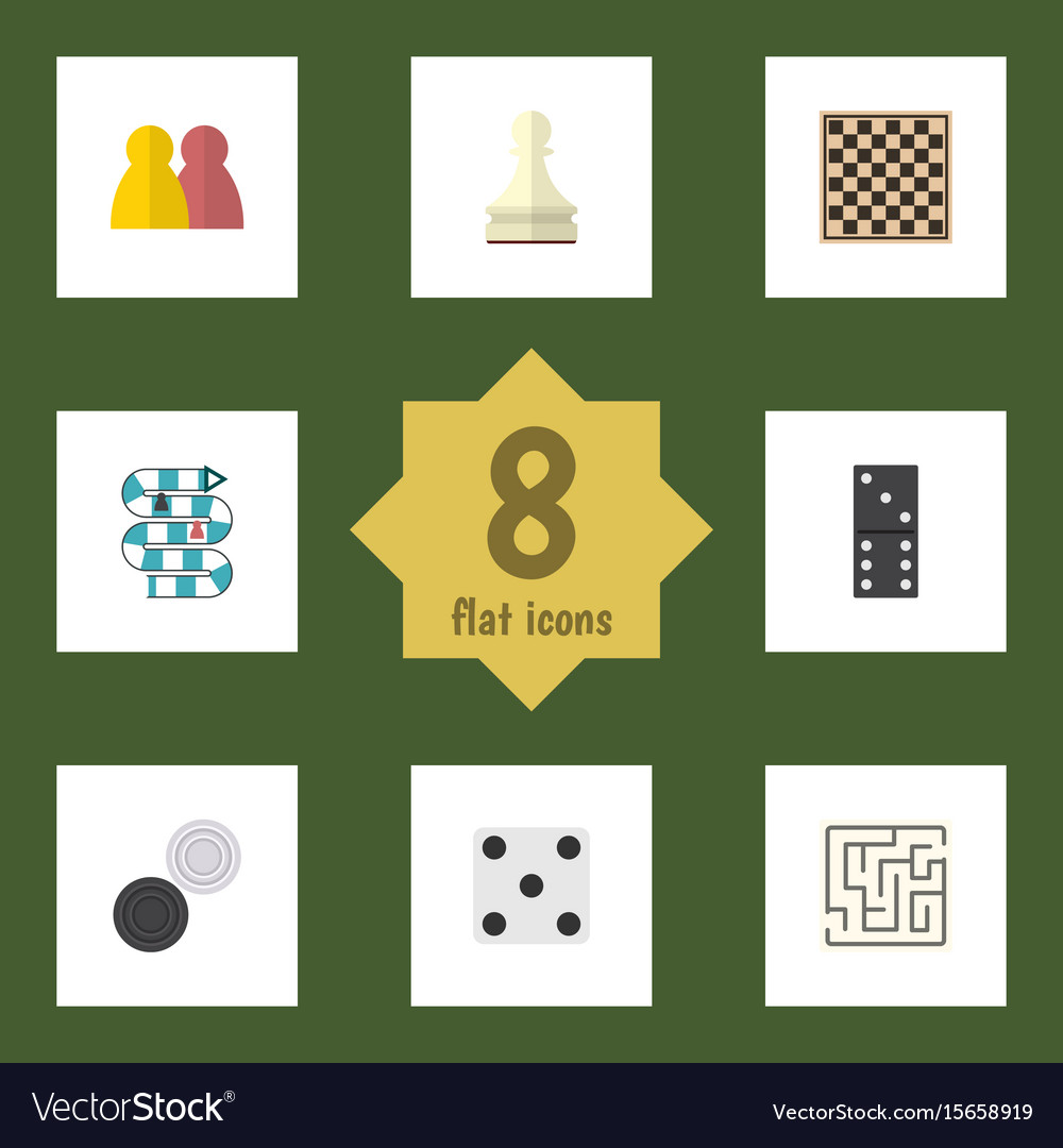 Flat icon games set of pawn chequer chess table vector image